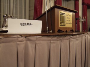 Judith Miller sign at NYCLA forum